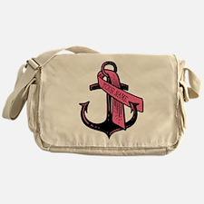 PERSONALIZED Pink Ribbon Anchor Messenger Bag
