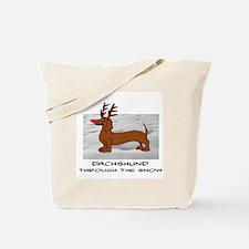 DACHSHUND THROUGH THE SNOW - DOGS Tote Bag