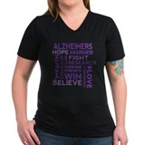 Alzheimers awareness Womens V-Neck T-shirts (Dark)
