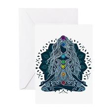 Yoga Girl Pose Blue Greeting Cards