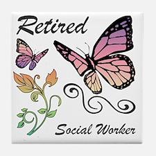 Retired Social Worker Tile Coaster