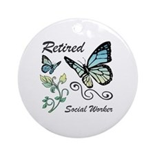 Retired Social Worker Round Ornament