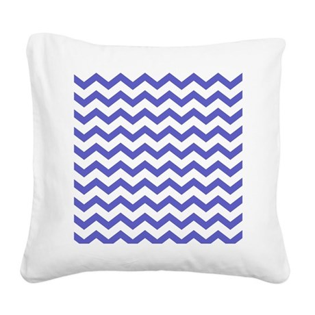 Plain Blue and White Chevrons Square Canvas Pillow by ...