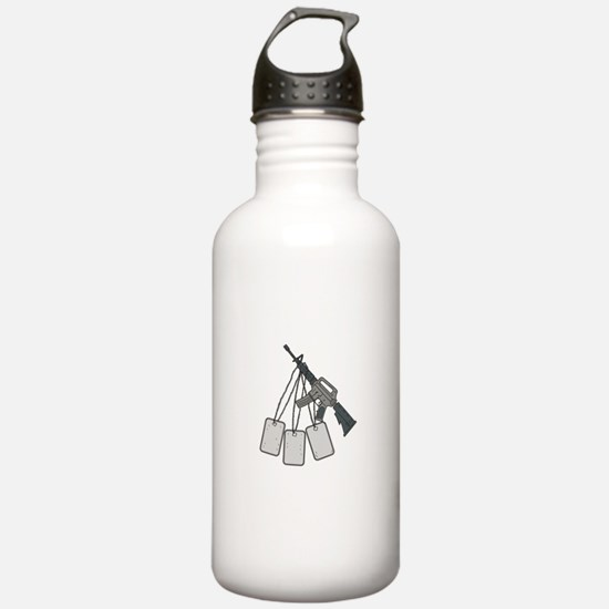 M4 Carbine Dog Tags Hanging Drawing Water Bottle