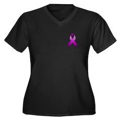 Purple Awareness Ribbon Women's Plus Size V-Neck D