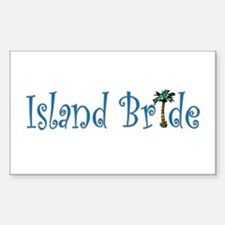 Island Bride with Palm Tree Rectangle Decal