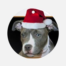 Christmas pitbull puppy.png Round Ornament