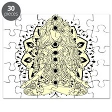 Yoga Girl tan off white sitting pose Puzzle