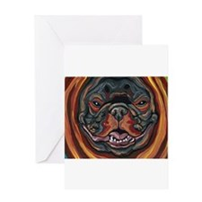 French Bulldog Pumpkin Greeting Cards