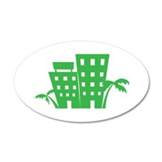 Palms & Buildings Wall Decal