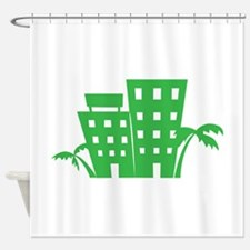 Palms & Buildings Shower Curtain