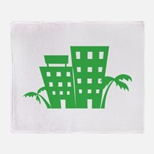Palms & Buildings Throw Blanket