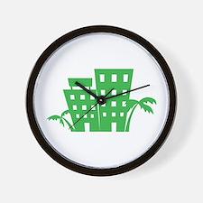 Palms & Buildings Wall Clock