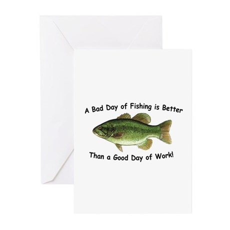 Bad Day Fishing Bass Greeting Cards (Pk of 10)