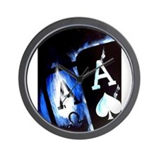 Blue Flame Pocket Aces Poker Wall Clock