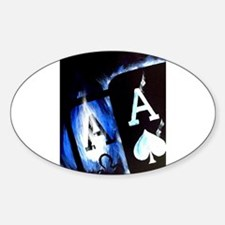 Blue Flame Pocket Aces Poker Oval Decal