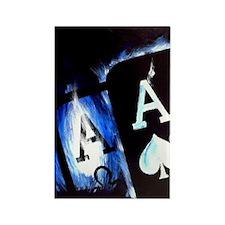 Blue Flame Pocket Aces Poker Rectangle Magnet