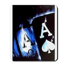 Blue Flame Pocket Aces Poker Mousepad