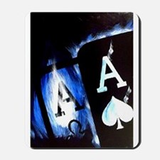 Blue Flame Pocket Aces Poker Mousepad