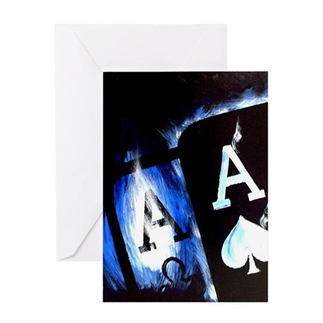Blue Flame Pocket Aces Poker Greeting Card