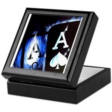 Blue Flame Pocket Aces Poker Keepsake Box