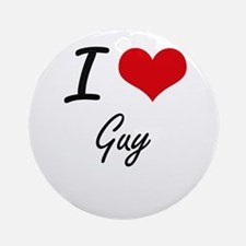 I love Guy Round Ornament