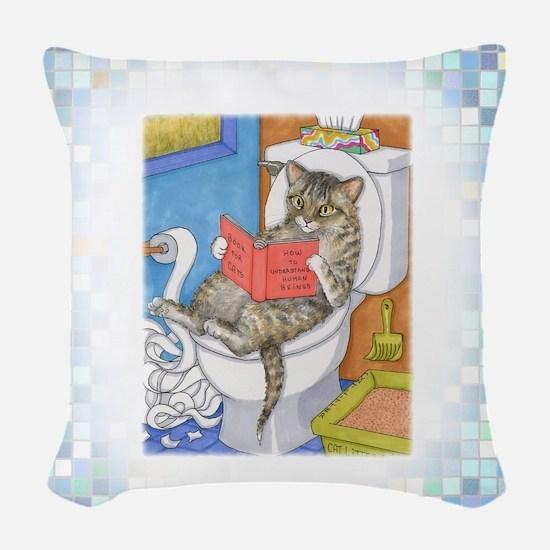Cat 535 Woven Throw Pillow