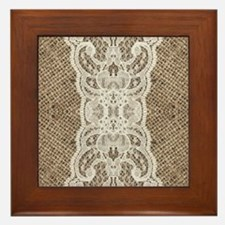 Rustic chic burlap lace Framed Tile
