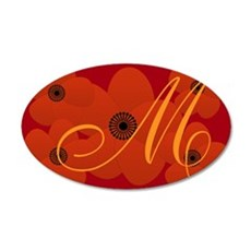 Retro Style Bright Red Floral Monogram Wall Decal