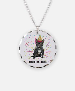Custom French Bulldog Birthd Necklace Circle Charm