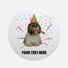 Custom Shih Tzu Birthday Round Ornament