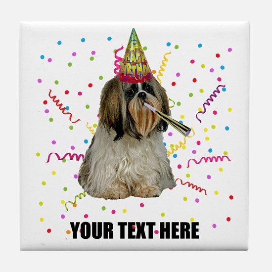 Custom Shih Tzu Birthday Tile Coaster