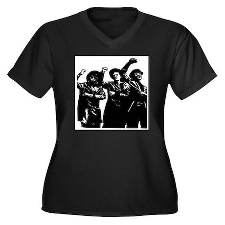 Black Power Women's Plus Size V-Neck Dark T-Shirt