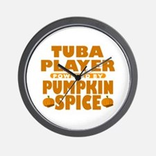 Tuba Player Powered by Pumpkin Spice Wall Clock