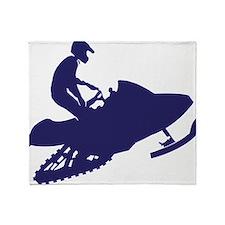 Navy-Snowmobiler.png Throw Blanket