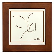 Kiss Line Art Framed Tile