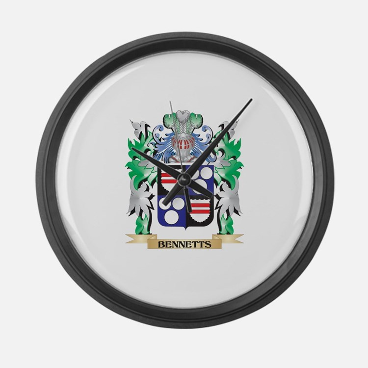 Bennetts Coat of Arms - Family Cr Large Wall Clock