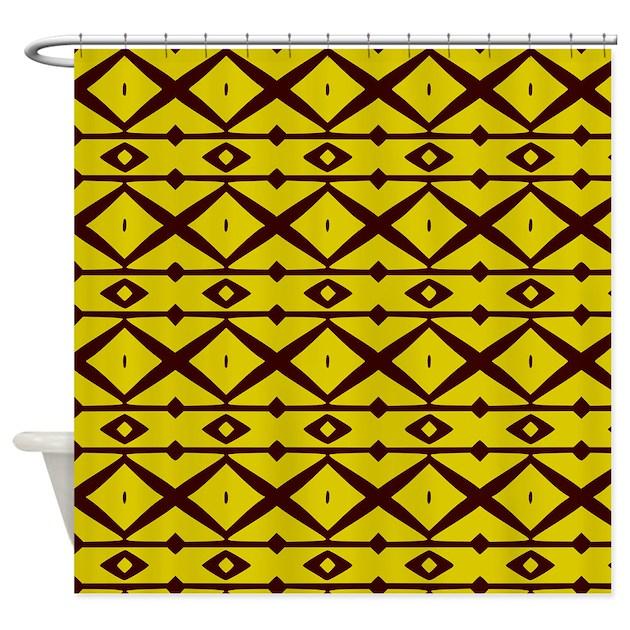 Yellow And Brown Trellis Pattern Shower Curtain By Bimbyspersonalizedgifts