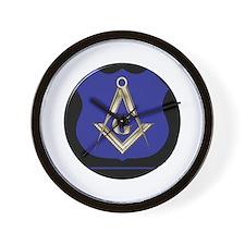 Freemasons Thin Blue Line Wall Clock