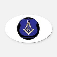 Freemasons Thin Blue Line Oval Car Magnet