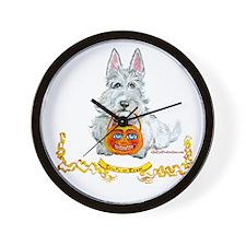 Wheaten Scottie Halloween Wall Clock