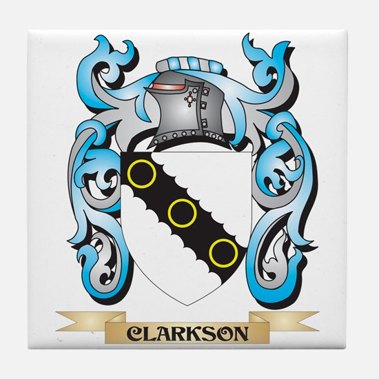Clarkson- Coat of Arms - Family Crest Tile Coaster