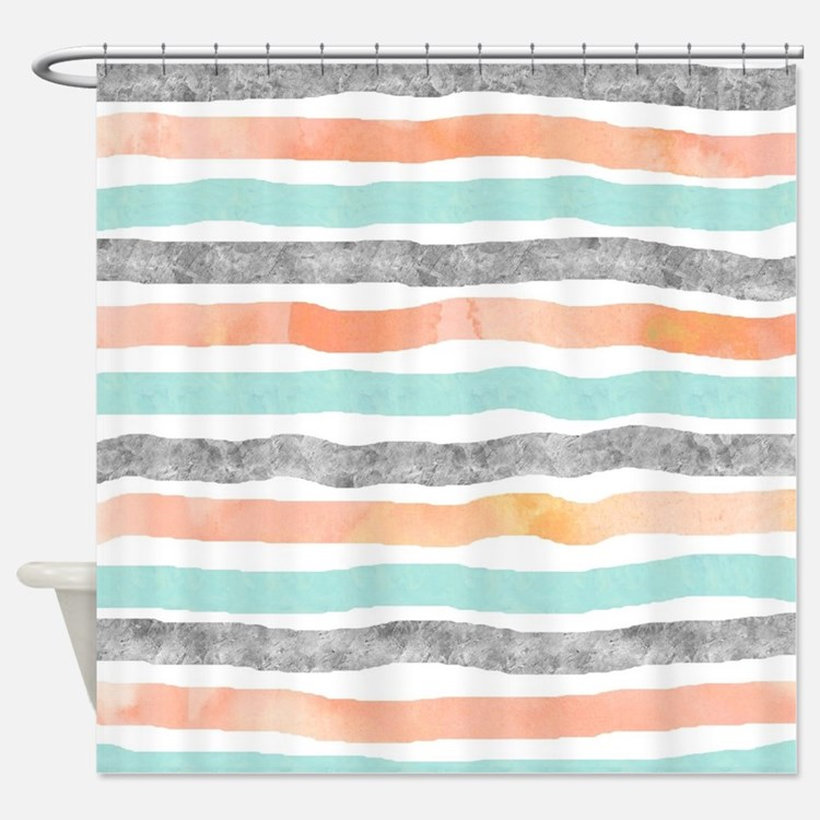 Modern Grey And Orange Shower Curtains Modern Grey And