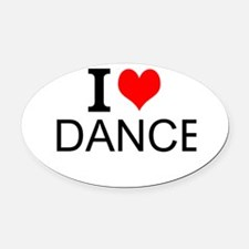 I Love Dance Oval Car Magnet