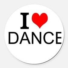 I Love Dance Round Car Magnet