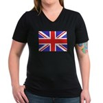 British Flag Women's V-Neck Dark T-Shirt
