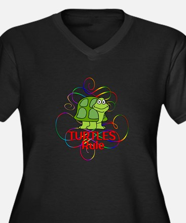 Turtles Rule Women's Plus Size V-Neck Dark T-Shirt
