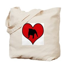 English Bulldog heart Tote Bag