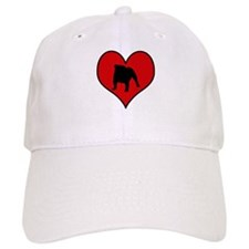English Bulldog heart Baseball Cap