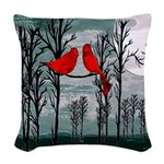Red birds Woven Throw Pillow
